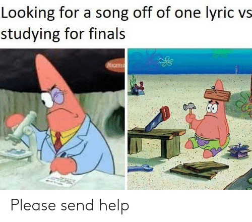 Finals, SpongeBob, and Help: Looking for a song off of one lyric vs  studying for finals Please send help