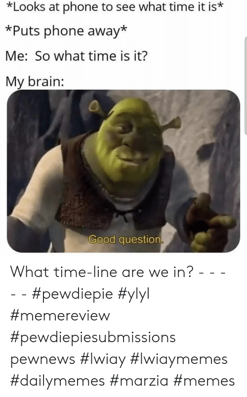 pewdiepie: *Looks at phone to see what time it is*  *Puts phone away*  Me: So what time is it?  My brain:  Good question What time-line are we in? - - - - - #pewdiepie #ylyl #memereview #pewdiepiesubmissions pewnews #lwiay #lwiaymemes #dailymemes #marzia #memes