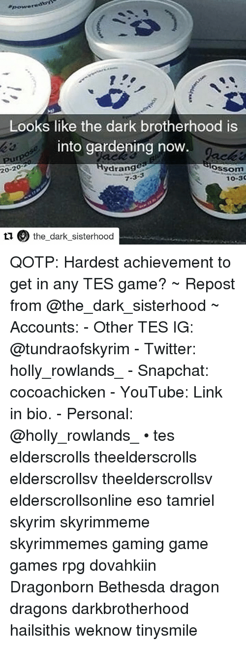 Gardening: Looks like the dark brotherhood is  into gardening now  20-20  ydrange  Slossom  7-3  10-30  ti the dark sisterhood QOTP: Hardest achievement to get in any TES game? ~ Repost from @the_dark_sisterhood ~ Accounts: - Other TES IG: @tundraofskyrim - Twitter: holly_rowlands_ - Snapchat: cocoachicken - YouTube: Link in bio. - Personal: @holly_rowlands_ • tes elderscrolls theelderscrolls elderscrollsv theelderscrollsv elderscrollsonline eso tamriel skyrim skyrimmeme skyrimmemes gaming game games rpg dovahkiin Dragonborn Bethesda dragon dragons darkbrotherhood hailsithis weknow tinysmile