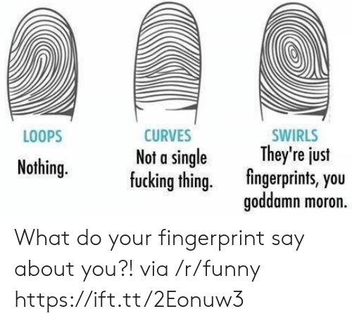 loops: LOOPS  CURVES  Not a single  fucking thing.  SWIRLS  They're just  fingerprints, you  goddamn moron.  y eus  Nothing. What do your fingerprint say about you?! via /r/funny https://ift.tt/2Eonuw3