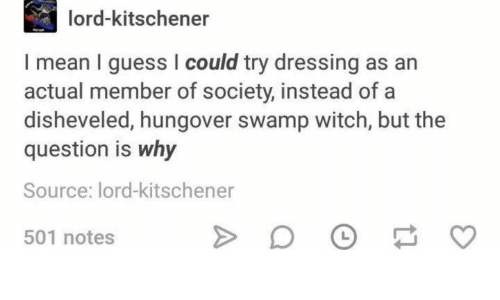 Guess, Mean, and Witch: lord-kitschener  I mean I guess I could try dressing as an  actual member of society, instead of a  disheveled, hungover swamp witch, but the  question is why  Source: lord-kitschener  L  501 notes