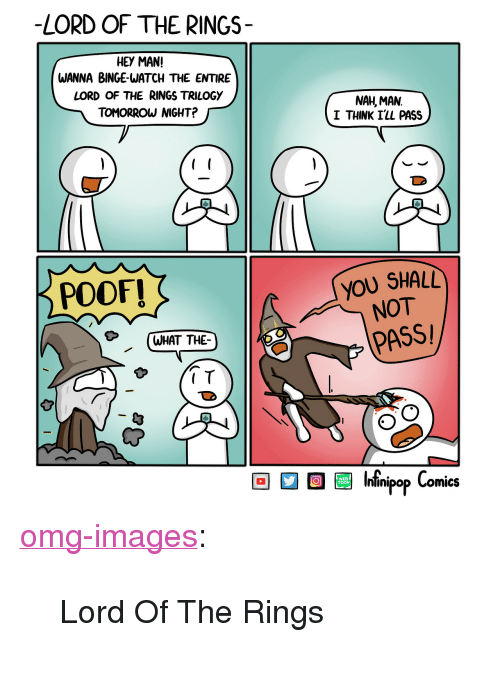 "poof: -LORD OF THE RINGS-  HEY MAN!  WANNA BINGE-WATCH THE ENTIRE  LORD OF THE RINGS TRILOGY  TOMORROW NIGHT?  NAH, MAN  I THINK I'LL PASS  POOF!  YOU SHALL  NOT  (WHAT THE  PASS  I T  60 08 Infnipop Comics <p><a href=""https://omg-images.tumblr.com/post/165413243962/lord-of-the-rings"" class=""tumblr_blog"">omg-images</a>:</p>  <blockquote><p>Lord Of The Rings</p></blockquote>"