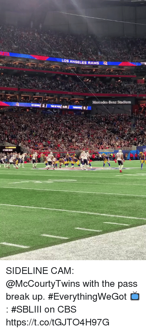 mercedes benz: LOS ANGELES RAMS  Mercedes-Benz Stadium SIDELINE CAM: @McCourtyTwins with the pass break up. #EverythingWeGot  📺: #SBLIII on CBS https://t.co/tGJTO4H97G