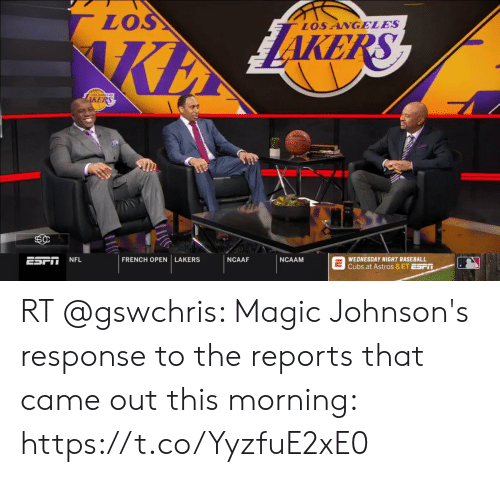 Baseball, Los Angeles Lakers, and Memes: LOS  LOSANGELES  KE  1  FRENCH OPEN LAKERS  NCAAF NCAAMG  ESTİ İNFL  WEDNESDAY NIGHT BASEBALL  Cubs at Astros 8 ET ESPIT RT @gswchris: Magic Johnson's response to the reports that came out this morning: https://t.co/YyzfuE2xE0