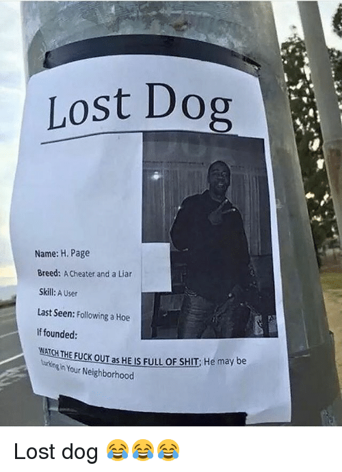 Hoe, Memes, and Shit: Lost Dop  Name: H. Page  Breed: A Cheater and a Liar  Skill: A User  Last Seen: Following a Hoe  If founded:  NATCH THE FUCK OUT as HE IS FULL OF SHIT He may be  urn in Your Neighborhood Lost dog 😂😂😂