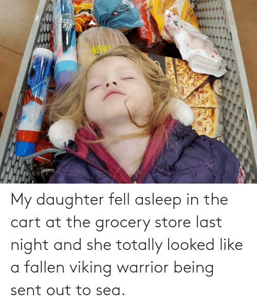 Viking, Warrior, and Fallen: Lotange My daughter fell asleep in the cart at the grocery store last night and she totally looked like a fallen viking warrior being sent out to sea.