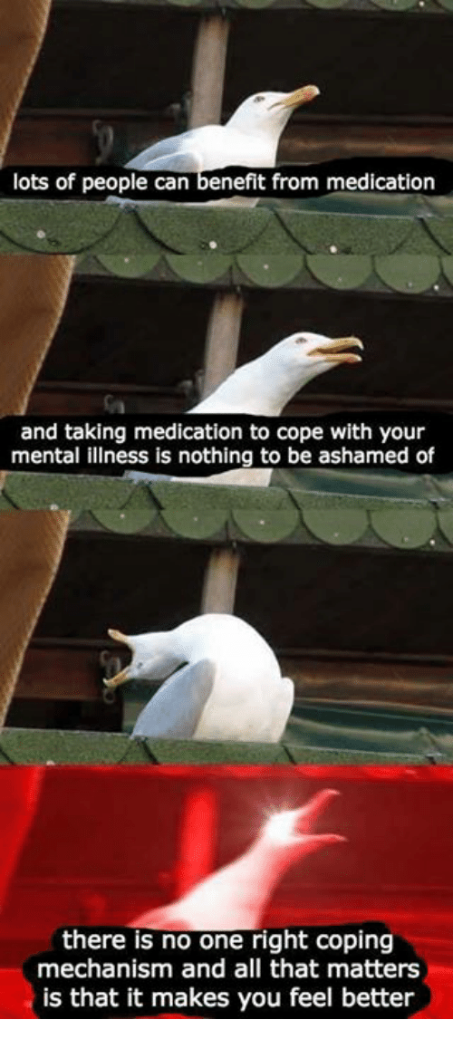 Lots Of People: lots of people can benefit from medication  and taking medication to cope with your  mental illness is nothing to be ashamed of  there is no one right coping  mechanism and all that matters  is that it makes you feel better