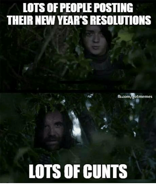 Lots Of People: LOTS OF PEOPLE POSTING  THEIR NEW YEAR'S RESOLUTIONS  fb.com/gotmemes  LOTS OF CUNTS
