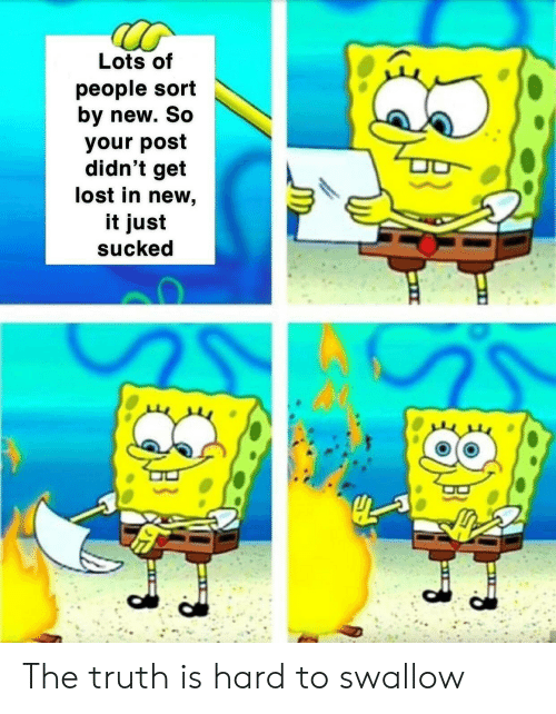 Lots Of People: Lots of  people sort  by new. So  your post  didn't get  lost in new,  it just  sucked The truth is hard to swallow