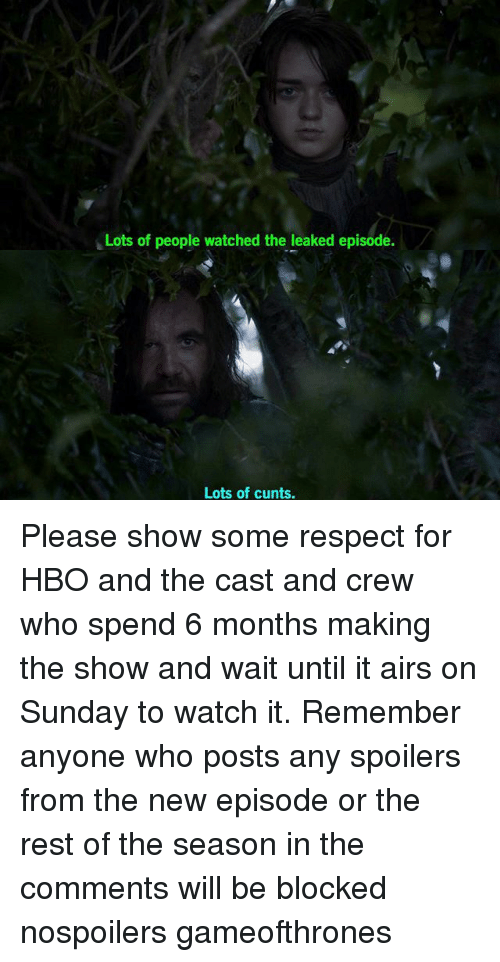 the casting: Lots of people watched the leaked episode.  Lots of cunts. Please show some respect for HBO and the cast and crew who spend 6 months making the show and wait until it airs on Sunday to watch it. Remember anyone who posts any spoilers from the new episode or the rest of the season in the comments will be blocked nospoilers gameofthrones