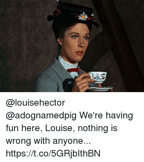 Memes, 🤖, and Fun: @louisehector @adognamedpig We're having fun here, Louise, nothing is wrong with anyone... https://t.co/5GRjbIthBN