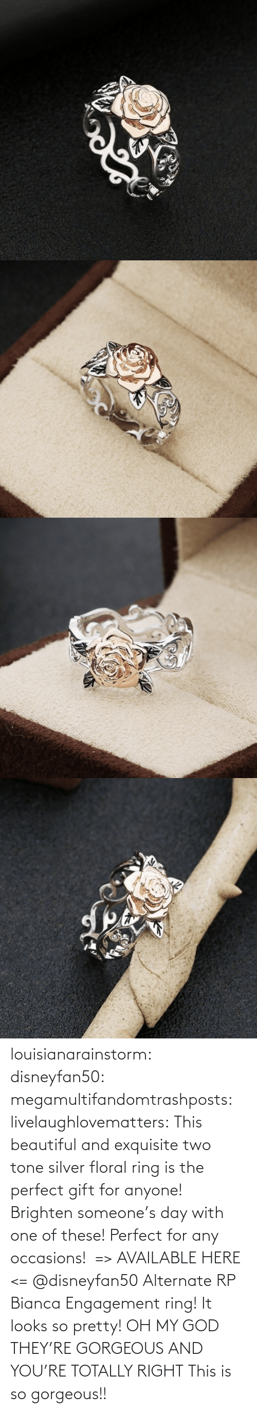 Gorgeous: louisianarainstorm: disneyfan50:  megamultifandomtrashposts:  livelaughlovematters:  This beautiful and exquisite two tone silver floral ring is the perfect gift for anyone! Brighten someone's day with one of these! Perfect for any occasions!  => AVAILABLE HERE <=    @disneyfan50 Alternate RP Bianca Engagement ring! It looks so pretty!  OH MY GOD THEY'RE GORGEOUS AND YOU'RE TOTALLY RIGHT    This is so gorgeous!!