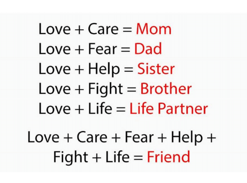 Loving Life: Love + Care Mom  Love Fear Dad  Love + Help = Sister  Love + Fight Brother  Love Life Life Partner  Love + Care + Fear + Help +  Fight Life Friend