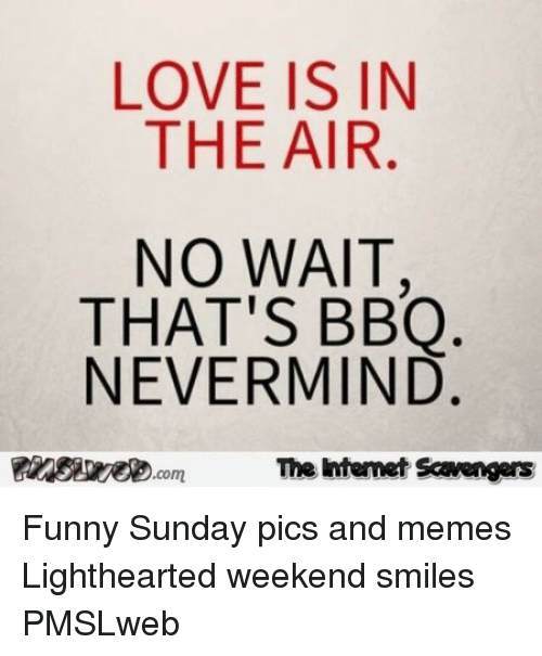 Lighthearted: LOVE IS IN  THE AIR  NO WAIT  THAT'S BBQ  NEVERMIND  insiweD.com  The htenet Scavengars <p>Funny Sunday pics and memes  Lighthearted weekend smiles  PMSLweb </p>