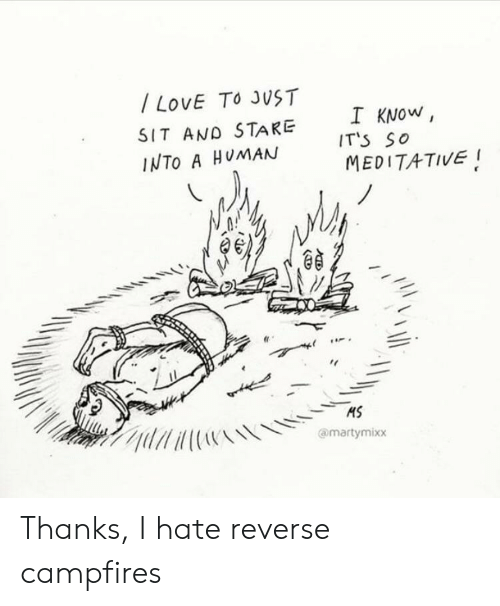 Meditative: /LOVE TO JUST  I KNOW  IT'S SO  MEDITATIVE  SIT AND STARE  INTO A HUMAN  HS  @martymixx Thanks, I hate reverse campfires