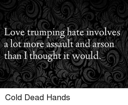 Love Trumps Hate: Love trumping hate involves  a lot more assault and arson  than I thought it would Cold Dead Hands