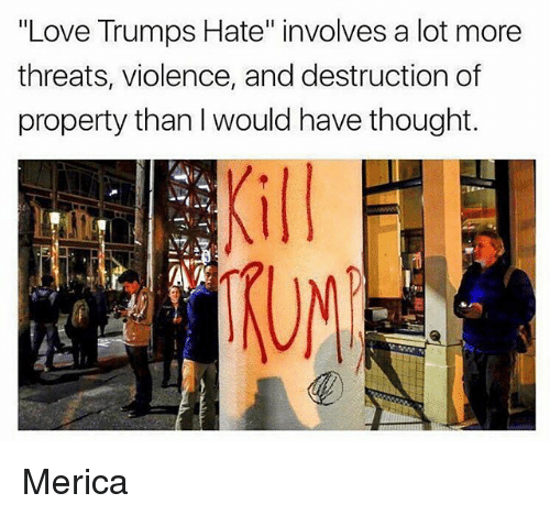 "Love Trumps Hate: ""Love Trumps Hate"" involves a lot more  threats, violence, and destruction of  property than l would have thought.  UN Merica"