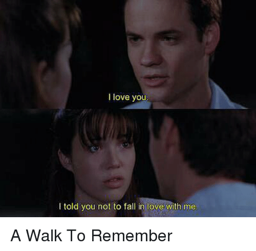 a walk to remember: love you  told you not to fall in love with me A Walk To Remember