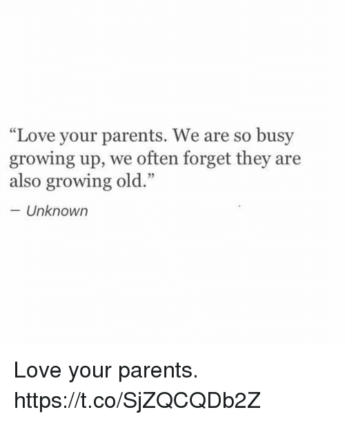 "Growing Up, Love, and Memes: ""Love your parents. We are so busy  growing up, we often forget they are  also growing old.""  - Unknown Love your parents. https://t.co/SjZQCQDb2Z"
