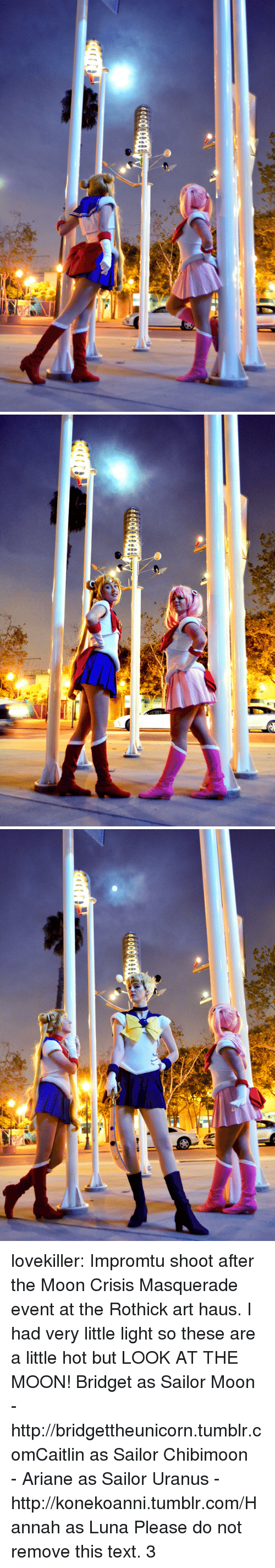 Sailor Moon, Target, and Tumblr: lovekiller:  Impromtu shoot after the Moon Crisis Masquerade event at the Rothick art haus. I had very little light so these are a little hot but LOOK AT THE MOON! Bridget as Sailor Moon - http://bridgettheunicorn.tumblr.comCaitlin as Sailor Chibimoon - Ariane as Sailor Uranus - http://konekoanni.tumblr.com/Hannah as Luna   Please do not remove this text. 3
