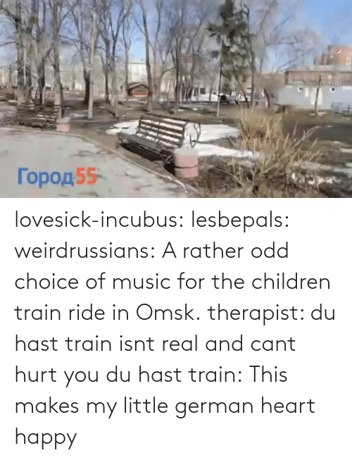 rather: lovesick-incubus:  lesbepals:   weirdrussians:  A rather odd choice of music for the children train ride in Omsk.    therapist: du hast train isnt real and cant hurt you du hast train:    This makes my little german heart happy