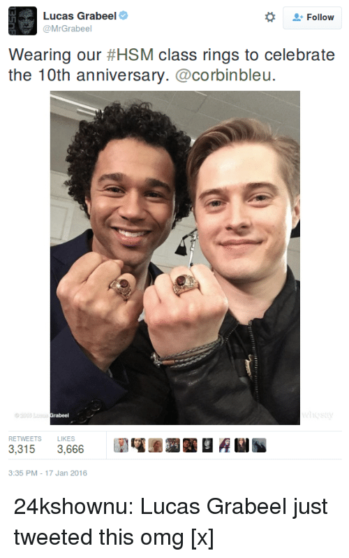 DeMarcus Cousins, Omg, and Tumblr: Lucas Grabeel  @MrGrabeel  Follow  Wearing our #HSM class rings to celebrate  the 10th anniversary.@corbinbleu.  RETWEETS LIKES  3,3153,666  3:35 PM -17 Jan 2016 24kshownu:  Lucas Grabeel just tweeted this omg [x]