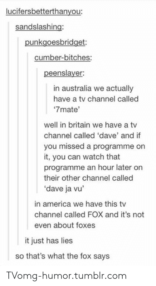 """tv channel: lucifersbetterthanyou:  sandslashing:  punkgoesbridget:  cumber-bitches:  peenslayer:  in australia we actually  have a tv channel called  """"7mate'  well in britain we have a tv  channel called 'dave' and if  you missed a programme on  it, you can watch that  programme an hour later on  their other channel called  'dave ja vu'  in america we have this tv  channel called FOX and it's not  even about foxes  it just has lies  so that's what the fox says TVomg-humor.tumblr.com"""