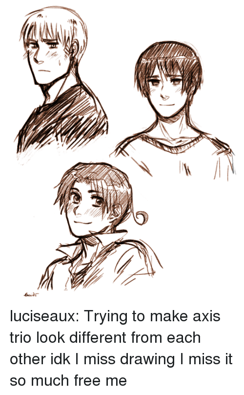Target, Tumblr, and Blog: luciseaux:  Trying to make axis trio look different from each other idk I miss drawing I miss it so much free me
