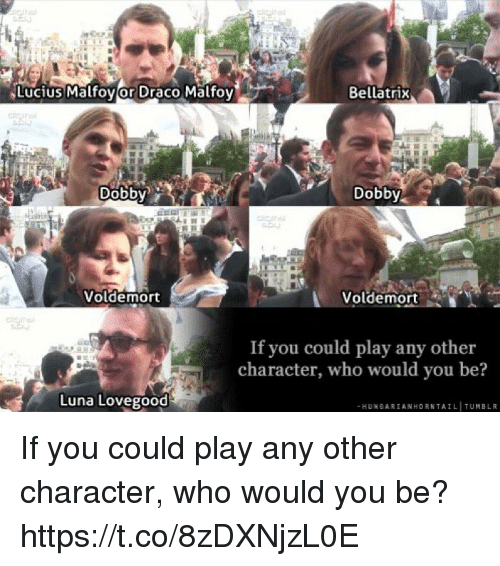 Memes, 🤖, and Lucius: Lucius Malfovor Draco Malfoy  Bellatrix  Dobbv  Dobby  Voldemort  Voldemort  If you could play any other  character, who would you be?  Luna Lovegood  -HUNGARIANHORNTAIL TUMBLIR If you could play any other character, who would you be? https://t.co/8zDXNjzL0E