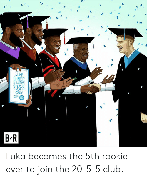 luka: LUKA  DONCIC  20-5-5  ROOKIE  Club  %2  B R Luka becomes the 5th rookie ever to join the 20-5-5 club.