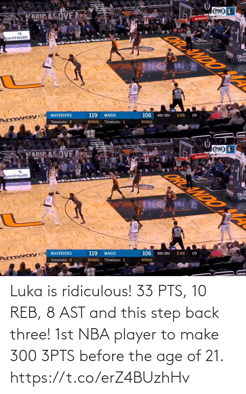 pts: Luka is ridiculous!  33 PTS, 10 REB, 8 AST and this step back three!   1st NBA player to make 300 3PTS before the age of 21. https://t.co/erZ4BUzhHv