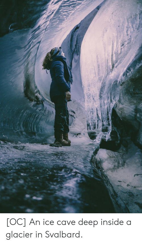 svalbard: LUP  LBAAD [OC] An ice cave deep inside a glacier in Svalbard.
