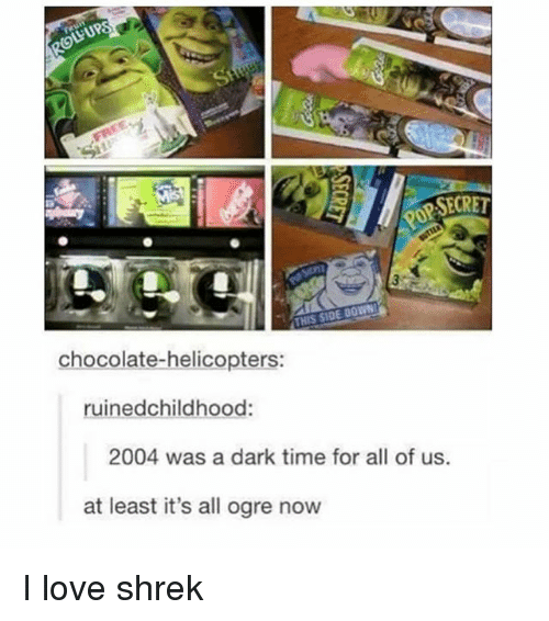 Love, Shrek, and Chocolate: LUPS  OP SECRET  THIS SIDE DOWN  chocolate-helicopters:  ruinedchildhood:  2004 was a dark time for all of us.  at least it's all ogre now I love shrek