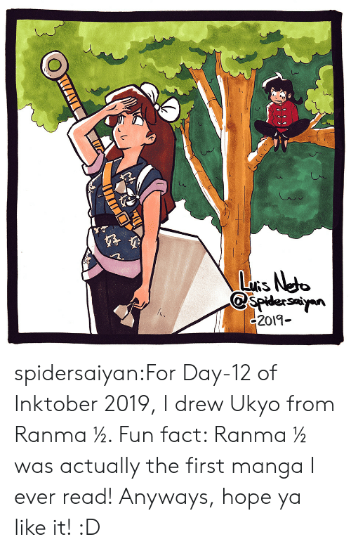 Target, Tumblr, and Blog: LuRs Neto  spidersayn  c2019- spidersaiyan:For Day-12 of Inktober 2019, I drew Ukyo from Ranma ½. Fun fact: Ranma ½ was actually the first manga I ever read! Anyways, hope ya like it! :D