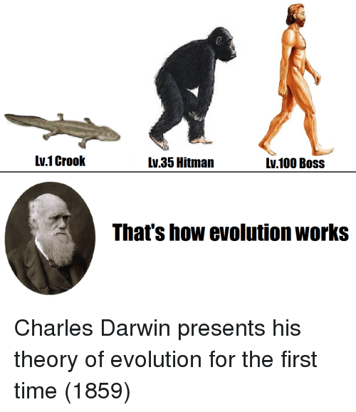 hitman: Lv.1 Crook  Lv 35 Hitman  lv.100 Bos:s  That's how evolution works Charles Darwin presents his theory of evolution for the first time (1859)