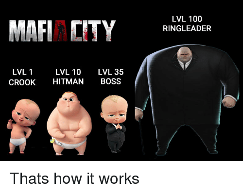 hitman: LVL 100  RINGLEADER  LVL 10 LVL 35  CROOK HITMAN BOSS  LVL 1 Thats how it works