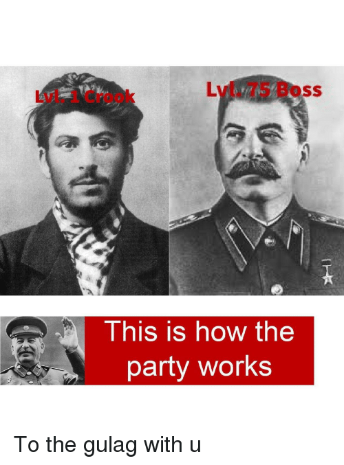 Party, How, and Boss: Lvl. 75 Boss  Lvl. 1 Crook  This is how the  party works To the gulag with u