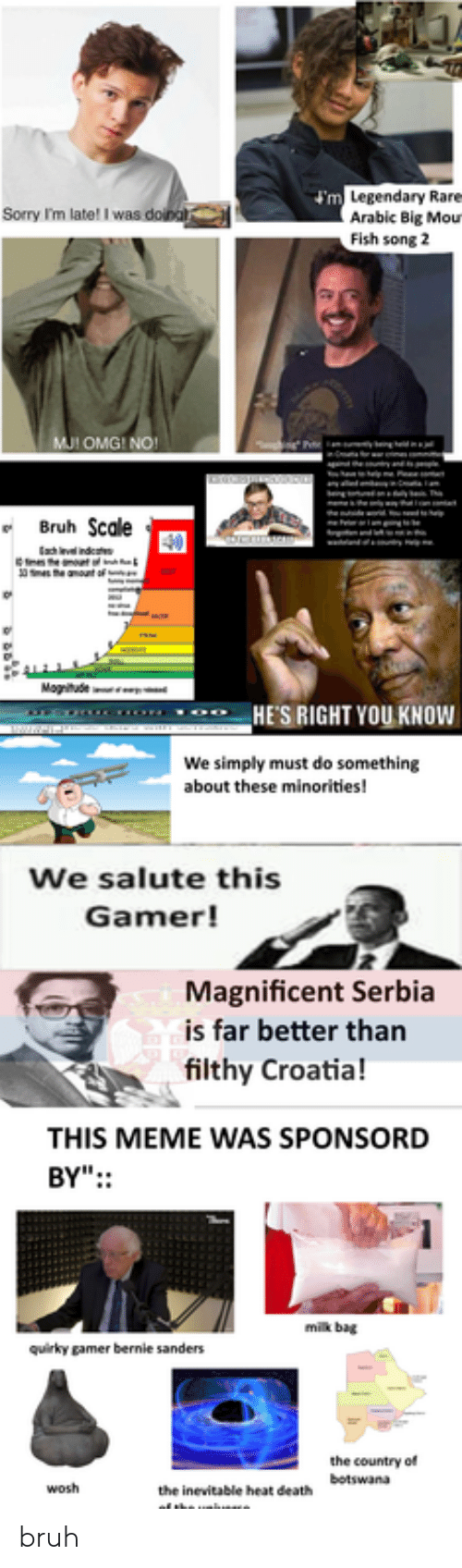 "Bernie Sanders, Bruh, and Meme: m Legendary Rare  Arabic Big Mou  Fish song 2  Sorry I'm late! I was doina  MJI OMG! NO!  ng  Bruh Scale  Fr  m  e anount of  Magitude  HE'S RIGHT YOU KNOWw  We simply must do something  about these minorities!  We salute this  Gamer!  Magnificent Serbia  is far better than  filthy Croatia!  THIS MEME WAS SPONSORD  BY"":  milk bag  quirky gamer bernie sanders  the country of  the inevitable heat de  of the unuae  botswana  wosh bruh"