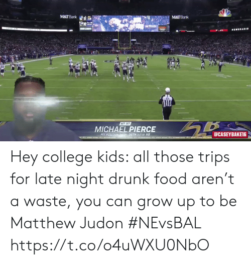 Matthew: M&TBank  M&TBank  LIT  MEWSRADI0  NT 97  MICHAEL PIERCE  aCASEYBAKET6  PEF POSITIONRAN36TH 0UT OF 112  t o  AT Hey college kids: all those trips for late night drunk food aren't a waste, you can grow up to be Matthew Judon #NEvsBAL https://t.co/o4uWXU0NbO
