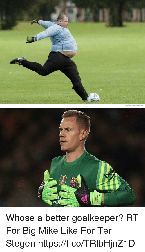 Adidas, Memes, and Big Mike: m tre  WeKnowMemes   adidas  MAAC  TER STEGen Whose a better goalkeeper?   RT For Big Mike Like For Ter Stegen https://t.co/TRlbHjnZ1D