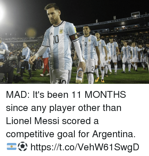 Soccer, Lionel Messi, and Argentina: MAD: It's been 11 MONTHS since any player other than Lionel Messi scored a competitive goal for Argentina. 🇦🇷⚽ https://t.co/VehW61SwgD