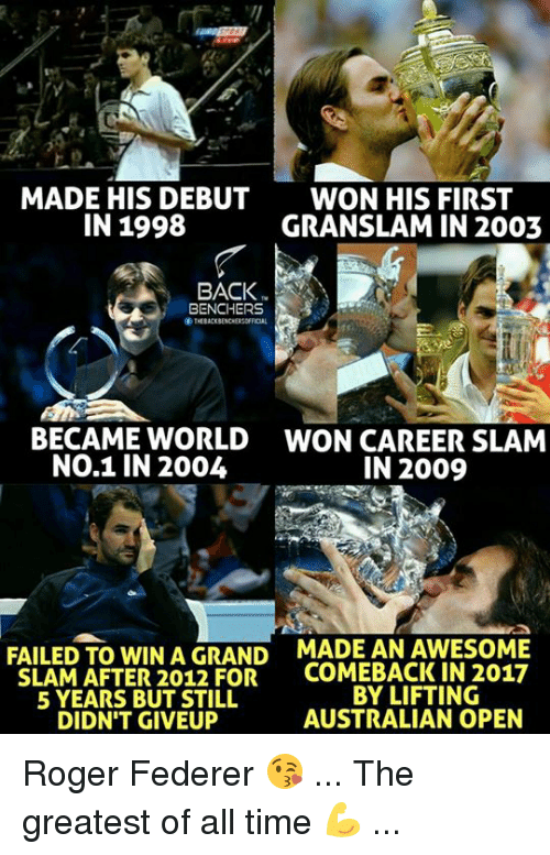 Rogering: MADE HIS DEBUT  IN 1998  WON HIS FIRST  GRANSLAM IN 2003  BACK  BENCHERS  THEBACKBENCHERSOFICAL  ぐ  BECAME WORLD  NO.1 IN 2004  WON CAREER SLAM  IN 2009  FAILED TO WIN A GRAND  SLAM AFTER 2012 FOR  5 YEARS BUT STILL  DIDN'T GIVEUP  MADE AN AWESOME  COMEBACK IN 2017  BY LIFTING  AUSTRALIAN OPEN Roger Federer 😘 ... The greatest of all time 💪 ...