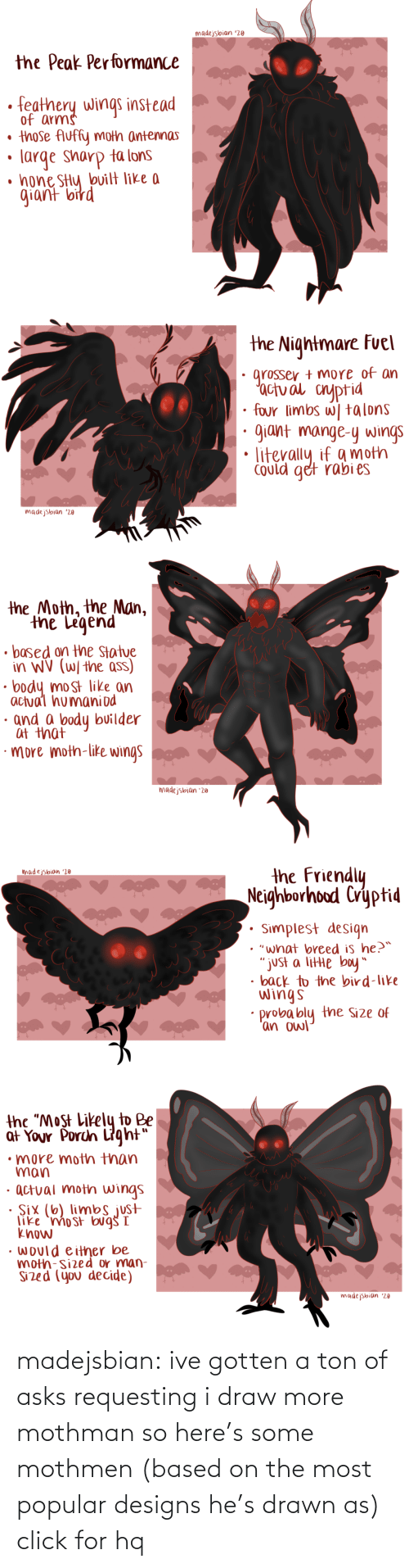 "bird: madejsbian '20  the Peak Performance  feathery wings instead  of arms  • those Auffy moth antennas  large sharp ta lons  • hone SHy bvilt like a  giant bird   the Nightmare Fuel  grosser + more of an  'actual cnyptid  four limbs w| talons  giant mange-y wings  Could get rabi es  madejsbian '20   the Moth, the Man,  the Legend  • based on the Statue  in WV (W/ the ass)  body most like an  actual humaniod  · and a body builder  at that  ·more moth-like wings  madejsbian '20   the Friendly  Neighborhood Cryptid  madejsbian '20  Simplest design  • ""what breed is he?™  ""just a litte boy""  • back to the bird-like  wings  probably the Size of  'an owl   the ""Most Likely to Be  at Your Porch Light""  •more moth than  man  · actual moth wings  · Six (6) limbs just  like 'mo st bug I  know  • would either be  moth-sized or man-  Sized (you decide)  madejsbian '20 madejsbian: ive gotten a ton of asks requesting i draw more mothman so here's some mothmen (based on the most popular designs he's drawn as)
