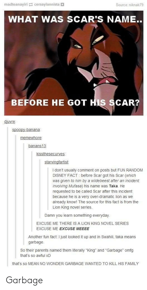 """Disney, Family, and Parents: madtea nayiri cersaylannista  Source: niknak79  WHAT WAS SCAR'S NAME..  BEFORE HE GOT HIS SCAR?  djuvre  spoopy-banana  memewhore  banans13  kissthesecurves:  starvingfartist  I don't usually comment on posts but FUN RANDOM  DISNEY FACT before Scar got his Scar (which  was given to him by a wildebeest after an incident  involving Mufasa) his name was Taka. He  requested to be called Scar after this incident  because he is a very over-dramatic lion as we  already know! The source for this fact is from the  Lion King novel series  Damn you learn something everyday  EXCUSE ME THERE IS A LION KING NOVEL SERIES  EXCUSE ME EXCUSE MEEEE  Another fun fact I just looked it up and in Swahili, taka means  garbage  So their parents named them literally """"King  that's so awful xD  and """"Garbage"""" omfg  that's so MEAN NO WONDER GARBAGE WANTED TO KILL HIS FAMILY Garbage"""