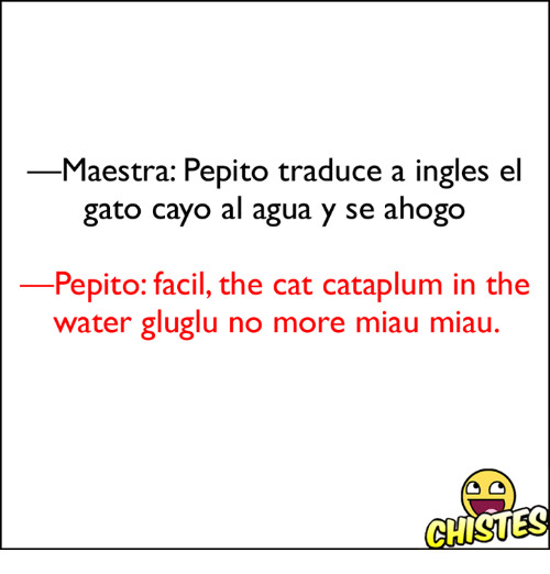 pepito: Maestra: Pepito traduce a ingles el  gato cayo al agua y se ahogo  Pepito: facil, the cat cataplum in the  water gluglu no more miau miau.  GHISUES