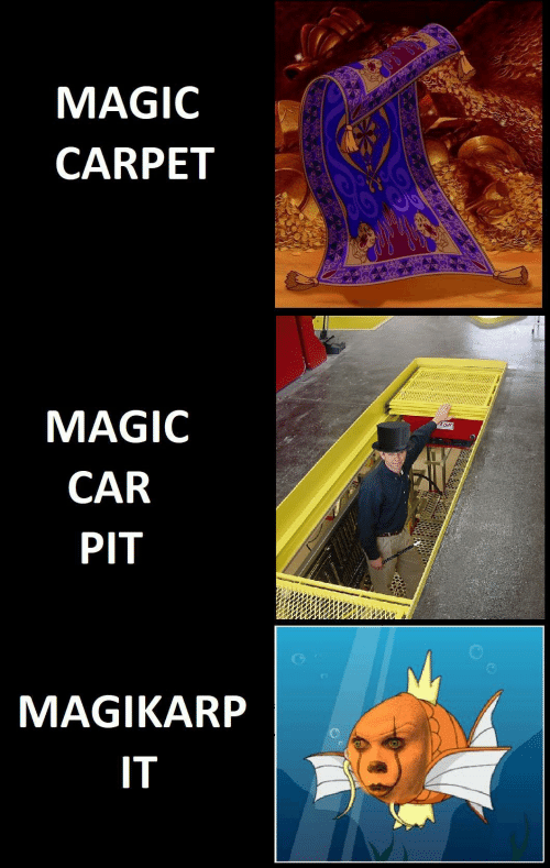 magikarp: MAGIC  CARPET  MAGIC  CAR  PIT  MAGIKARP  IT