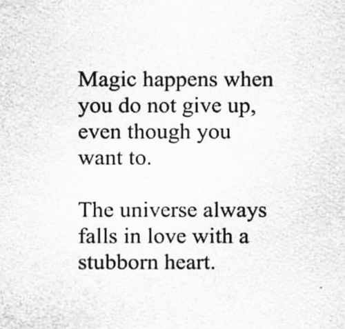 Love, Heart, and Magic: Magic happens when  you do not give up,  even though you  want to.  The universe always  falls in love with a  stubborn heart.