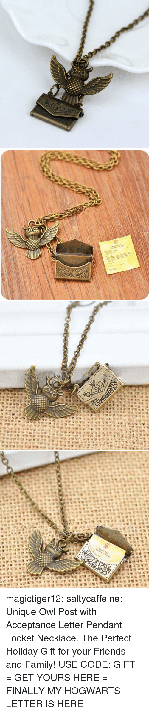 Family, Friends, and Target: magictiger12:  saltycaffeine: Unique Owl Post with Acceptance Letter Pendant Locket Necklace. The Perfect Holiday Gift for your Friends and Family! USE CODE: GIFT = GET YOURS HERE =   FINALLY MY HOGWARTS LETTER IS HERE