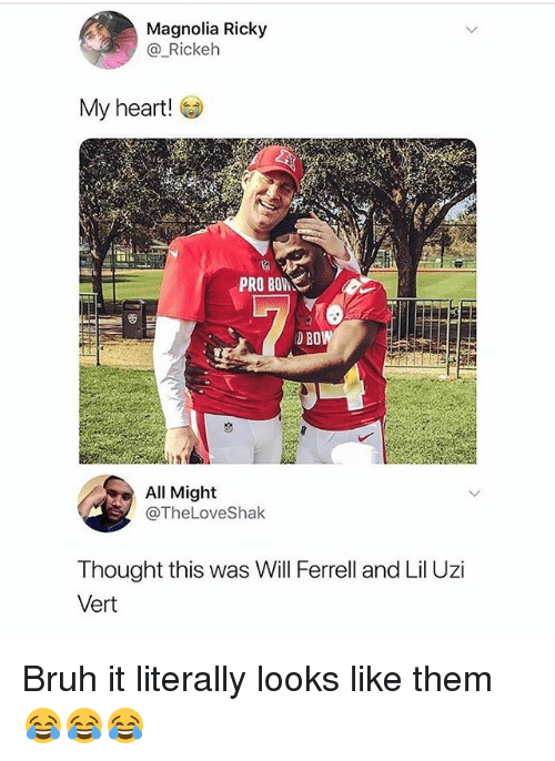 ferrell: Magnolia Ricky  @ Rickelh  My heart!  PRO BOW  D BO  is  All Might  @TheLoveShak  Thought this was Will Ferrell and Lil Uzi  Vert Bruh it literally looks like them 😂😂😂