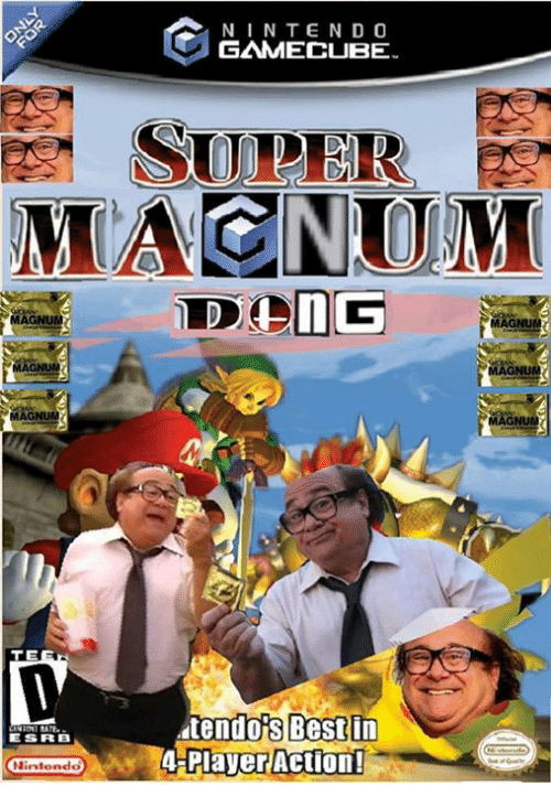 Dank, 🤖, and Player: MAGNUM  MAGNUM  TE  ESRB  Nintendo  GAMECUBE  tendois Best in  A Player Action!  MAGNUM  AGNUM  MAONUM